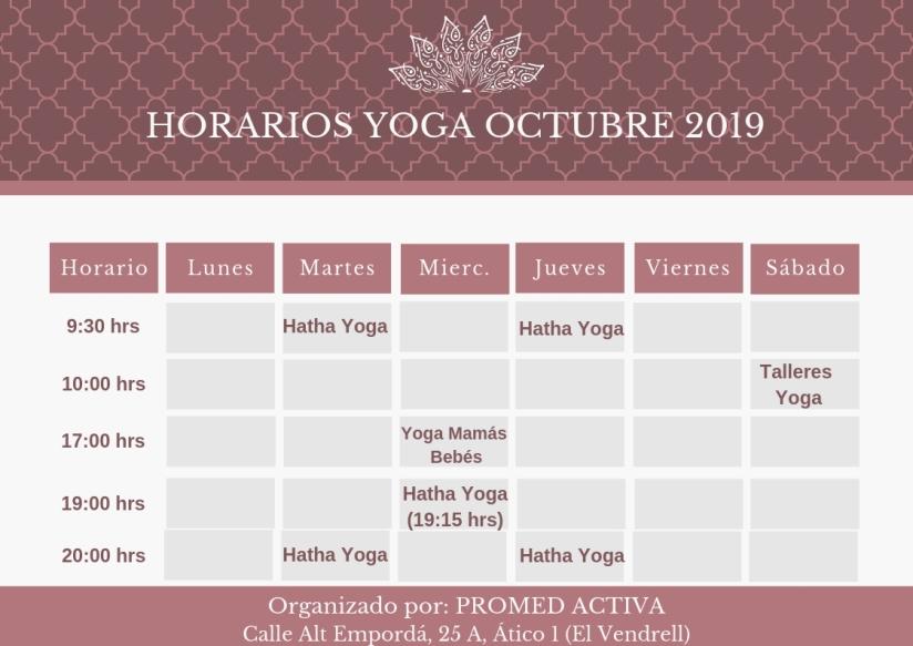 HORARIOS YOGA OCTUBRE 2019